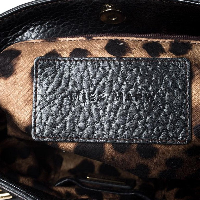 Dolce and Gabbana Black Calfhair and Leather Miss Mary Hobo For Sale 2