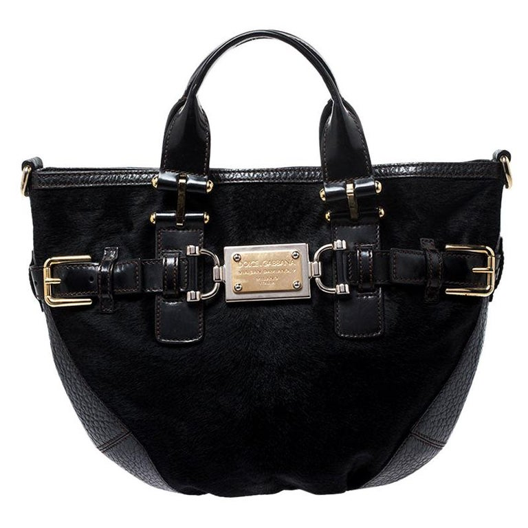 Dolce and Gabbana Black Calfhair and Leather Miss Mary Hobo For Sale