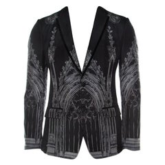 Dolce and Gabbana Black Cathedral Print Cotton Silk Tailored Blazer S