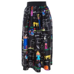 Dolce and Gabbana Black Chldren's Painting Print Mikado Silk Flared Skirt M