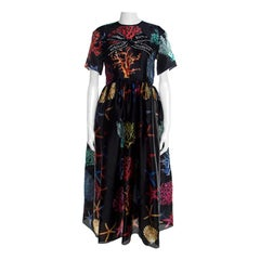 Dolce and Gabbana Black Coral Printed Silk Embellished Bow Detail Maxi Dress S