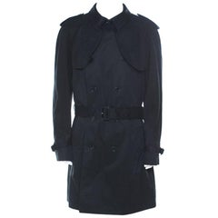 Dolce and Gabbana Black Cotton Double Breasted Belted Coat XXL