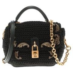 Dolce and Gabbana Black Crochet Padlock Crossbody Bag