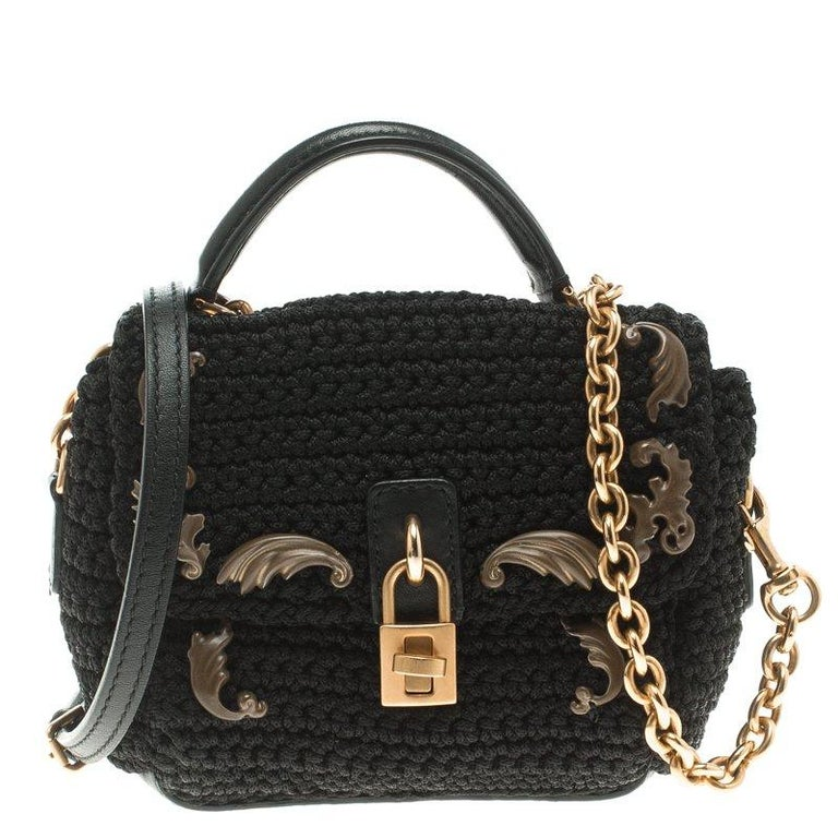 1fe5a7f364 Dolce and Gabbana Black Crochet Padlock Crossbody Bag For Sale at ...