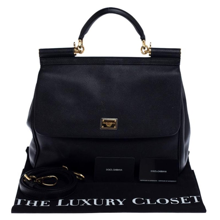 Dolce and Gabbana Black Dauphine Leather Large Miss Sicily Top Handle Bag For Sale 7