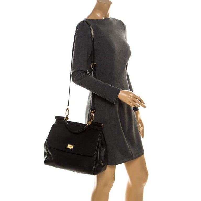 Dolce and Gabbana Black Dauphine Leather Large Miss Sicily Top Handle Bag In Good Condition For Sale In Dubai, Al Qouz 2