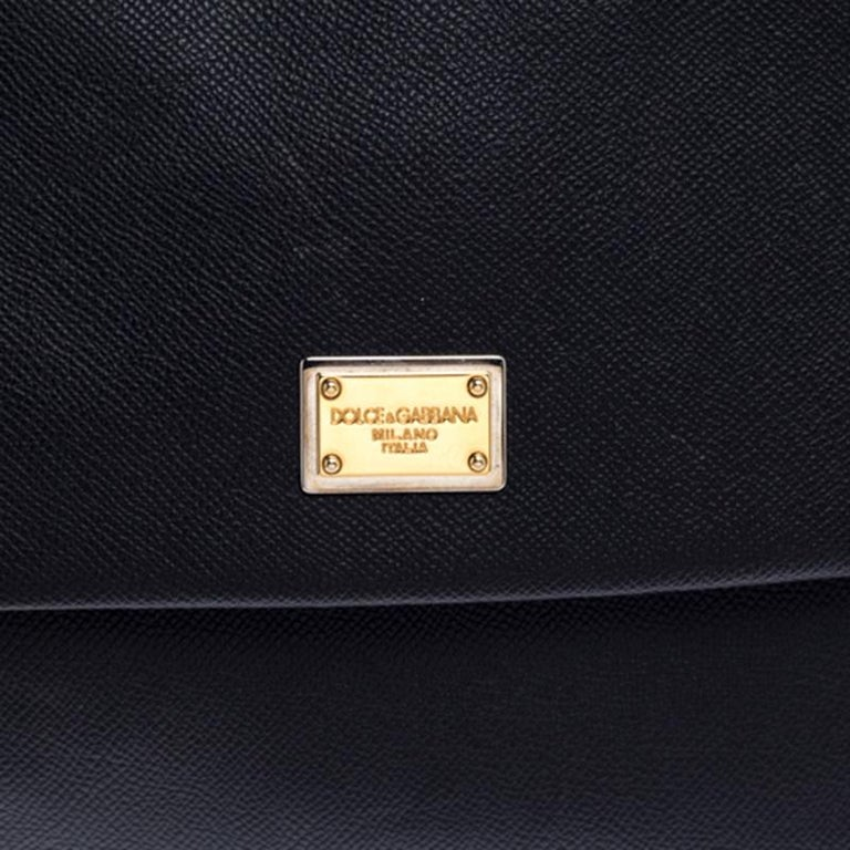 Dolce and Gabbana Black Dauphine Leather Large Miss Sicily Top Handle Bag For Sale 3