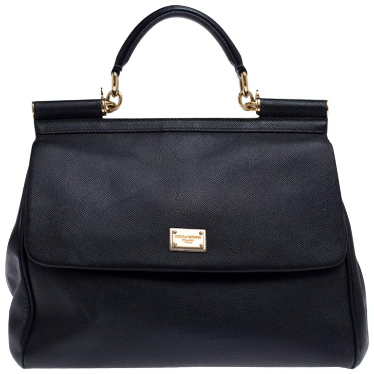 Dolce and Gabbana Black Dauphine Leather Large Miss Sicily Top Handle Bag For Sale