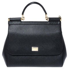 Dolce and Gabbana Black Dauphine Leather Medium Miss Sicily Bag
