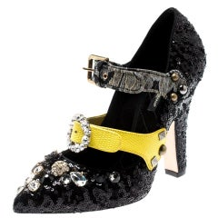 Dolce and Gabbana Black  Embellished Buckle Crystals Mary Jane Pump Size 39