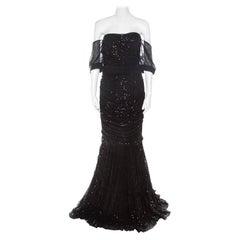 Dolce and Gabbana Black Embellished Tulle Ruched Off Shoulder Gown L