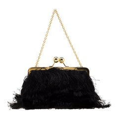 Dolce and Gabbana Black Fabric and Satin Fringed Chain Clutch