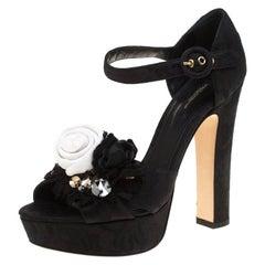 Dolce and Gabbana Black Fabric Floral Embellished Platform Sandals Size 40