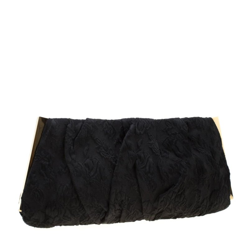 Women's Dolce and Gabbana Black Floral Embossed Fabric Miss Lady Clutch For Sale
