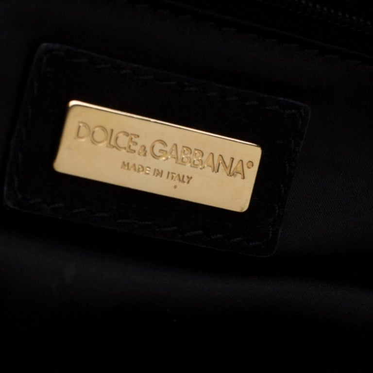 Dolce and Gabbana Black Floral Embossed Fabric Miss Lady Clutch For Sale 4