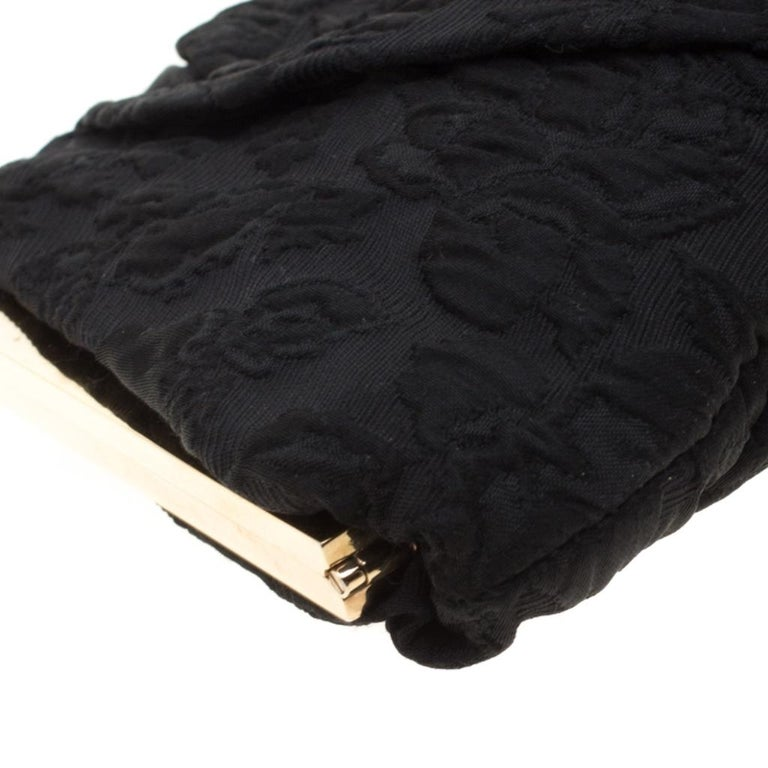 Dolce and Gabbana Black Floral Embossed Fabric Miss Lady Clutch For Sale 5