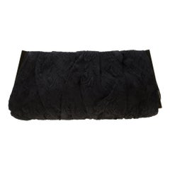 Dolce and Gabbana Black Floral Embossed Fabric Miss Lady Clutch