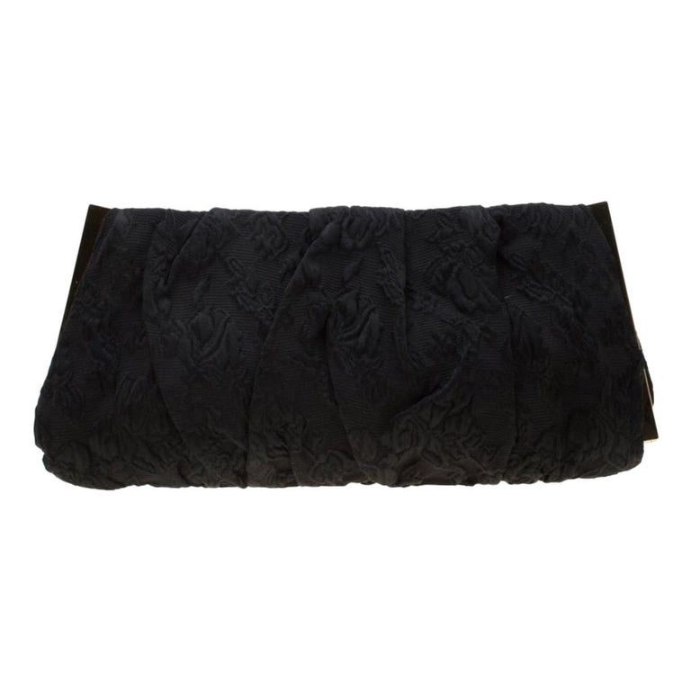 Dolce and Gabbana Black Floral Embossed Fabric Miss Lady Clutch For Sale