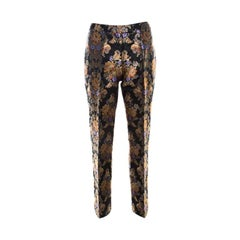 Dolce and Gabbana Black Floral Jacquard Sateen Straight Fit Trousers M