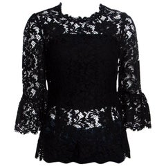 Dolce and Gabbana Black Floral Lace Scalloped Trim Ruffle Cuff Top S
