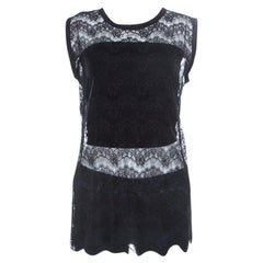 Dolce and Gabbana Black Floral Lace Sleeveless Mesh Top M