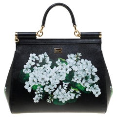 Dolce and Gabbana Black Floral Print Leather Medium Sicily Bag