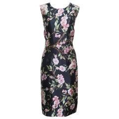 Dolce and Gabbana Black Floral Print Sleeveless Dress M