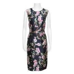 Dolce and Gabbana Black Floral Print Sleeveless Dress M
