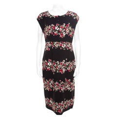 Dolce and Gabbana Black Floral Printed Crepe Sheath Midi Dress M