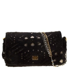Dolce and Gabbana Black/Gold Crochet Wool and Satin Embellished Chain Shoulder B