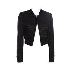 Dolce and Gabbana Black Jacquard Corded Applique Velvet Trim Cropped Jacket S