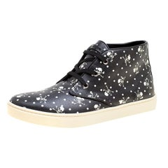 Dolce and Gabbana Black l and Cross  Print Canvas High Top Sneakers Size 42.5