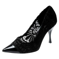 Dolce and Gabbana Black Lace And Leather Crochet Pumps Size 37.5