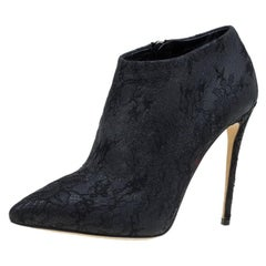 Dolce and Gabbana Black Lace Ankle Boots Size 36