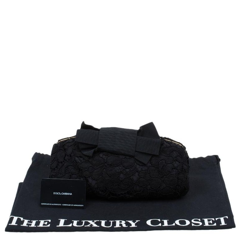 Dolce and Gabbana Black Lace Bow Evening Bag For Sale 11