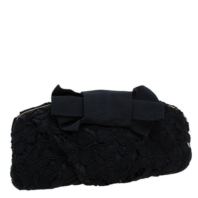 Women's Dolce and Gabbana Black Lace Bow Evening Bag For Sale