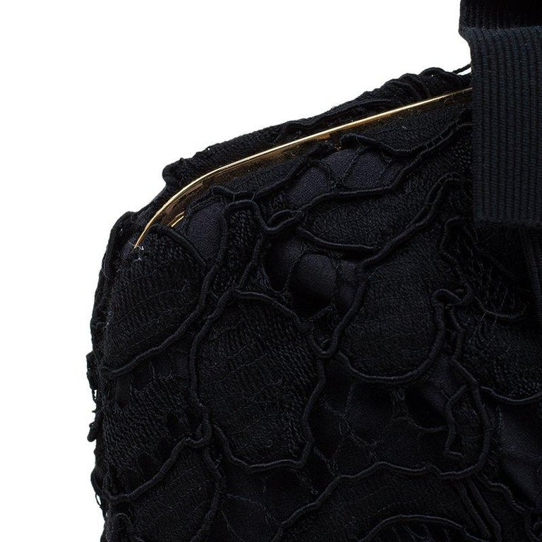 Dolce and Gabbana Black Lace Bow Evening Bag For Sale 3