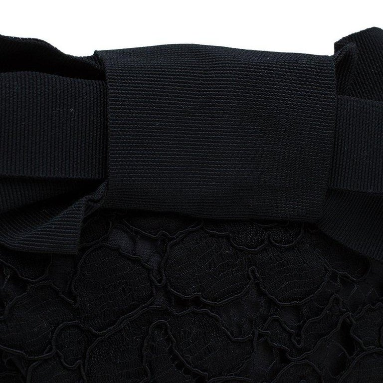 Dolce and Gabbana Black Lace Bow Evening Bag For Sale 4