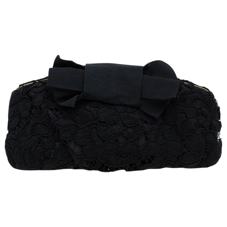 Dolce and Gabbana Black Lace Bow Evening Bag For Sale