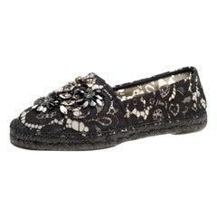 Dolce and Gabbana Black Lace Crystal Embellished Espadrilles Size 40
