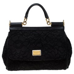 Dolce and Gabbana Black Lace Medium Miss Sicily Top Handle Bag
