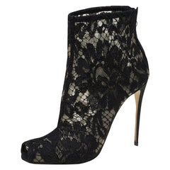 Dolce and Gabbana Black Lace Peep Toe Ankle Boots Size 36