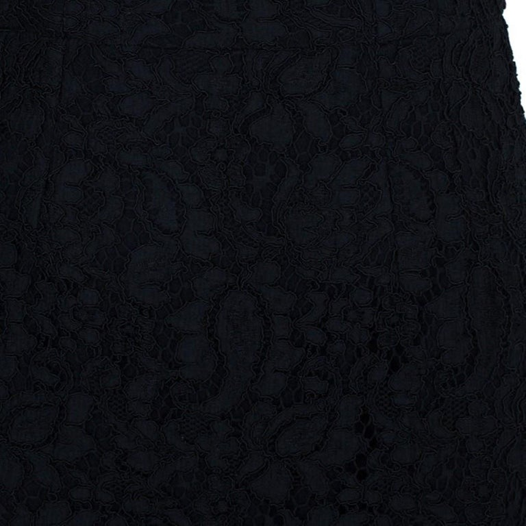 Women's Dolce and Gabbana Black Lace Shift Dress M For Sale