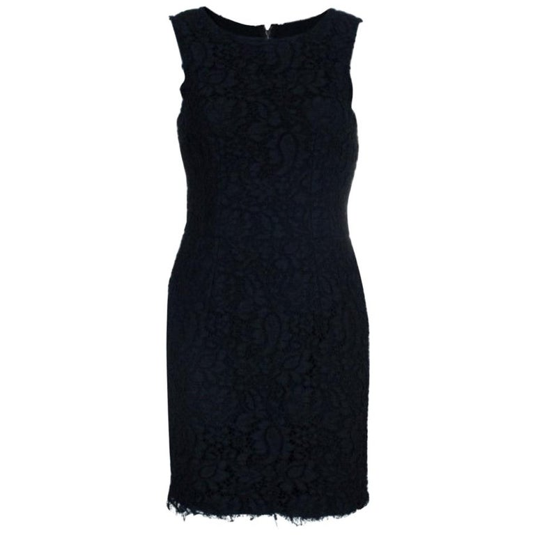 Dolce and Gabbana Black Lace Shift Dress M For Sale