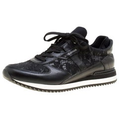 Dolce And Gabbana Black Leather And Lace Sneakers Size 41