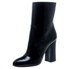 Dolce and Gabbana Black Leather Block Heel Ankle Boots Size 39