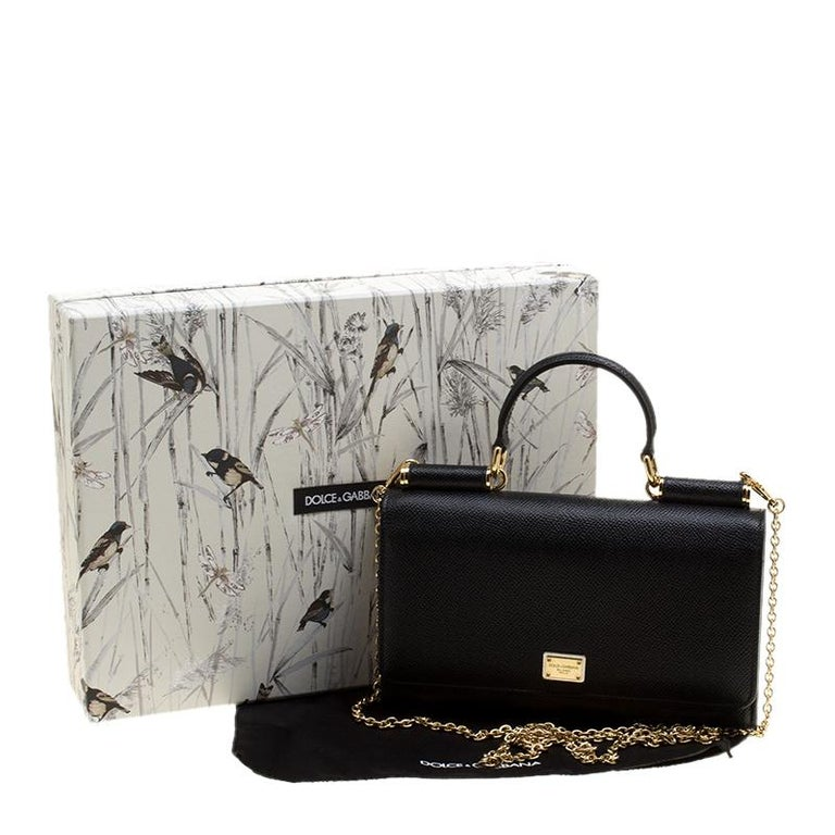 Dolce and Gabbana Black Leather Disco Clutch For Sale 8