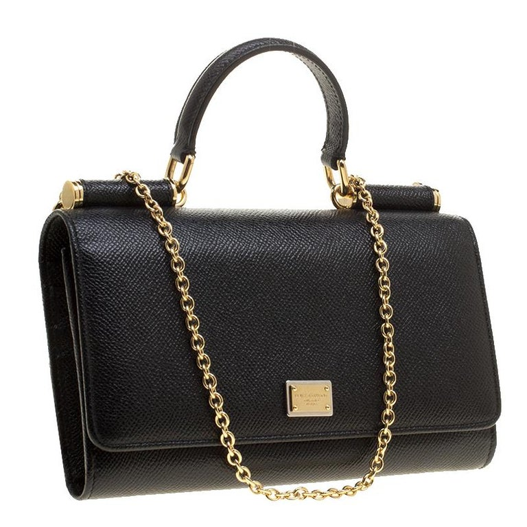 Women's Dolce and Gabbana Black Leather Disco Clutch For Sale