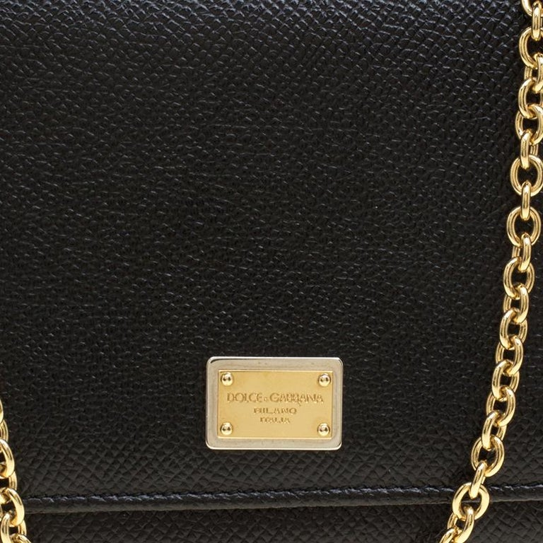 Dolce and Gabbana Black Leather Disco Clutch For Sale 1