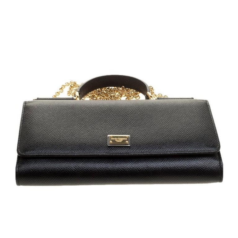 Dolce and Gabbana Black Leather Disco Clutch For Sale 2